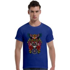 The Beijing Opera People Face Cotton Soft Men Short T-Shirt (Blue) - Intl