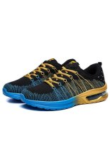 The New Sports Men's Shoes Air Cushion Fly Line Network Shoes Rainbow Weaving Nets Cloth Shoes (Gold) (Intl)