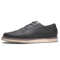 The New Summer New Tooling Leather Shoes Stitching Leather Shoes Bullock (Grey) - Intl