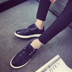 The New Trend Of Casual Shoes Men Black And White Low Shoes Korean Breathable Shoes (Blue) - Intl
