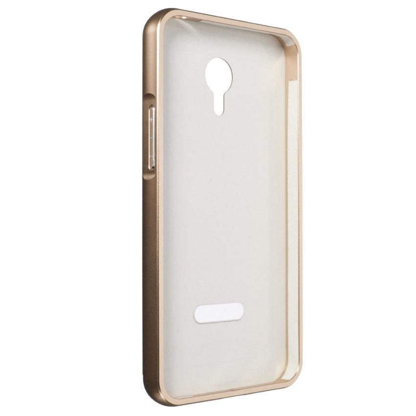 Thin Luxury Metal Frame Bumper + PC Hard Back Case for Meizu Meilan M1 Note (Golden) (Intl)