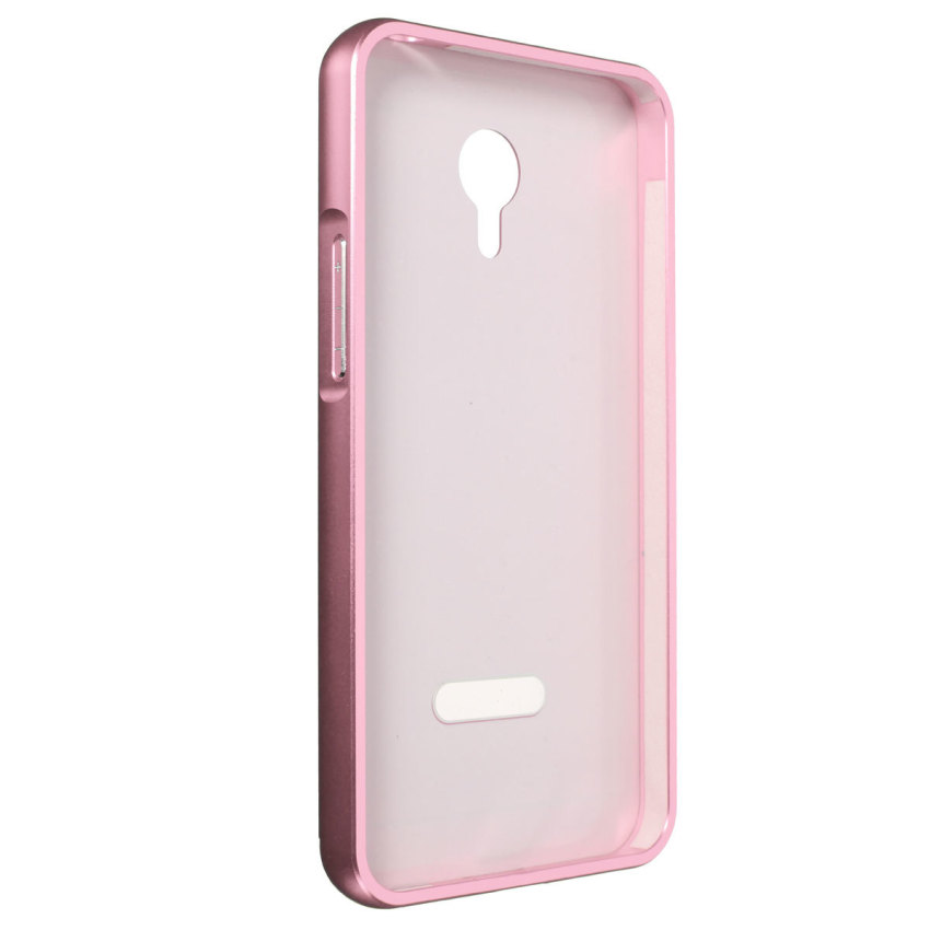 Thin Luxury Metal Frame Bumper + PC Hard Back Case for Meizu Meilan M1 Note (Pink) (Intl)