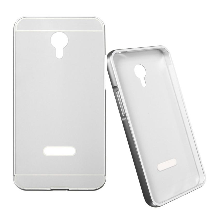 Thin Luxury Metal Frame Bumper + PC Hard Back Case for Meizu Meilan M1 Note (Silver) (Intl)