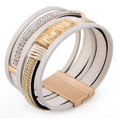 TimeZone Delicate Faux Leather Rhinestone Layered Bracelet For Women (White) - Intl