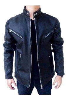 tintin shop jaket motor kantong dada pria hitam lazada