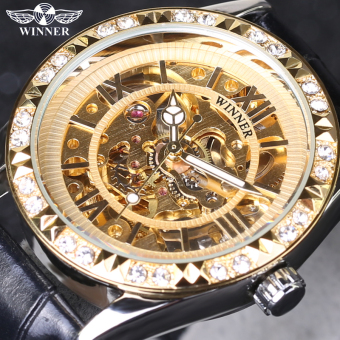 Top Brand Leather Skeleton Mechanical Women Dress Diamond Mechanical Wristwatch