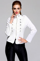 Toprank Autumn Women's Slim Zipper Jacket Parka Winter Jacket Women Coat Casual Plus Size (White)