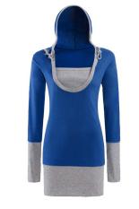 Toprank Cheapest Women Female U Neck Hoodies Pullover Sweatshirt Casual Tops Outwear Sports Wear (Blue)