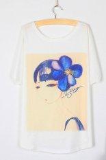 Toprank Design Fashion Summer T Shirt Women Loose Batwing Sleeve T-Shirt Blouse Print T-Shirt Woman Clothes (Multicolor)