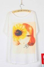 Toprank Design Fashion Summer T Shirt Women Loose Batwing Sleeve T-Shirt Blouse Print T-Shirt Woman Clothes (White)