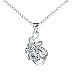 Toprank Fashion 925 Sterling Silver Plated Diamond Pendants Crystal Necklace (Silver)