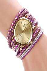 Toprank Fashion Rhinestone Rivet Circle Belt Synthetic Leather Bracelet Watch Wrist Watches (Purple) - Intl