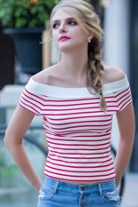 Toprank High Street Women Summer Casual Short Sleeve Off Shoulder Stripe T Shirt Woman Female Slim T-Shirt Tops (Red)