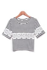 Toprank Lady Women Striped Printed Crop Top Loose Casual Short Sleeve T Shirt T-Shirt Tees Lace Tops Woman Cropped Top (White)