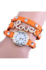 Toprank Love Dial Wrap Around Synthetic Leather Bracelet Wrist Watch (Orange)