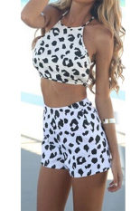 Toprank Test Women Rompers Womens Jumpuit Cross Backless Leopard Printed Crop Top And Shorts Set (White)