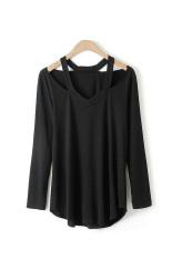 Toprank Women Bottoming Shirt Women Off Shoulder Long Sleeve Ladies T-Shirt Women Tops V Neck Sexy Shirt (Black) (Intl)