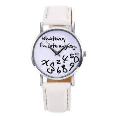 Toprank Women Synthetic Leather Large Dial Letter Quartz Analog Wrist Watch (White)