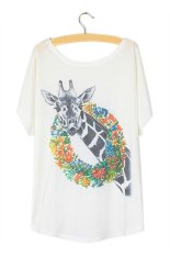 Toprank Women's Summer Fashion Short Sleeve Animal Printed T-Shirt Loose Batwing Sleeved Casual Women T Shirt Tees