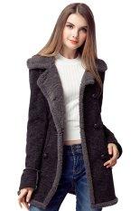 TOSHOON RED Womens Autumn Long Sleeve Wool Collar Fleece Double-Breasted Coat Jacket (Dark Coffee)