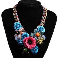 TOSHOON RED Women's Elegant Bauhinia Flower Acrylic Diamond Party Chain Necklace (Blue + Pink) (Intl)