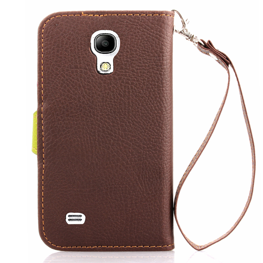 TPU Flip Leather Wallet Cover with Card Slot Holder for Samsung Galaxy S4 Mini i9190 (Brown) (Intl)