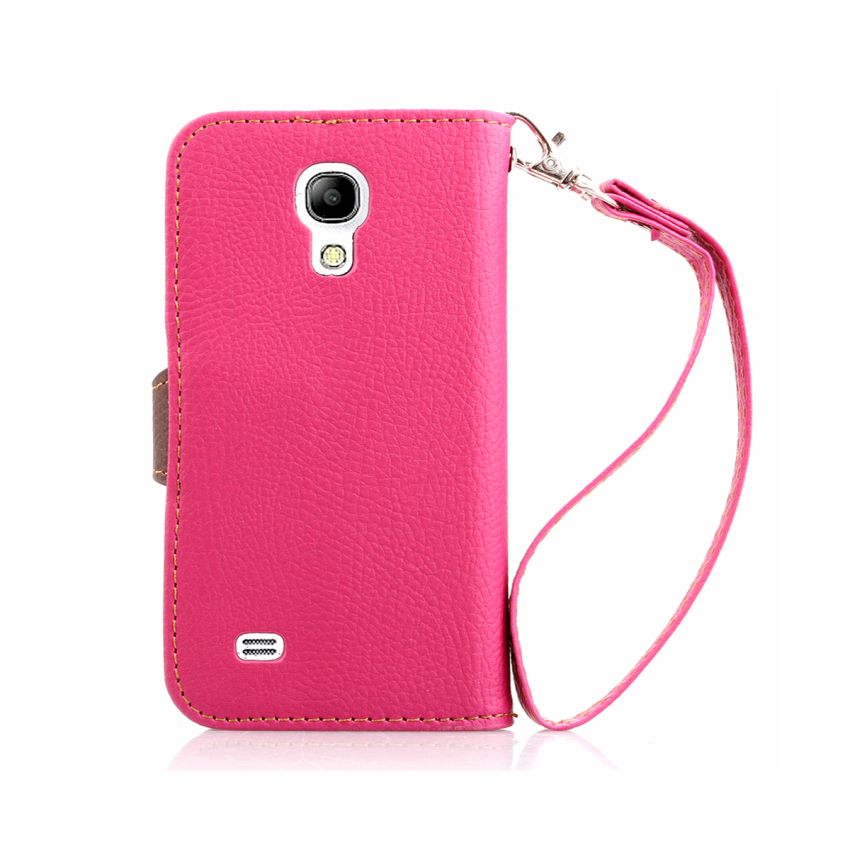 TPU Flip Leather Wallet Cover with Card Slot Holder for Samsung Galaxy S4 Mini i9190 (Pink) (Intl)