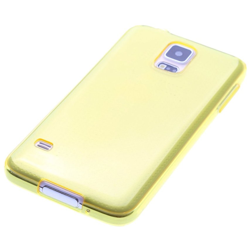 TPU Protective Back Case for Samsung Galaxy S5 i9600 (Yellow)
