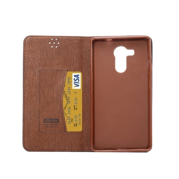 TPU PU Flip Leather Cross Texture Horizontal Cover with Card Slots Wallet Holder for Huawei Ascend Mate 8 (Brown) (Intl)