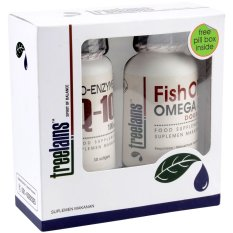 Treelains Paket Healthy Heart (Jantung Sehat) Fish Oil Omega 3 Double - 1000 mg + CoEnzyme Q10 - 100 mg