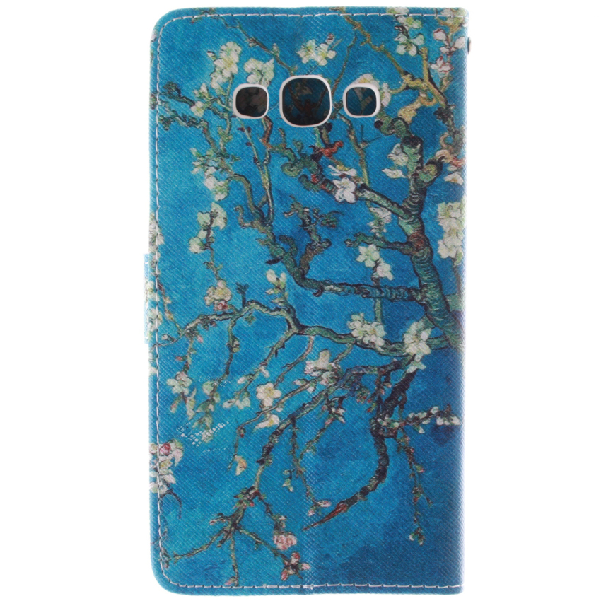 Trees Double Painting Filp Leather Cover for Samsung Galaxy A7 (Blue) (Intl)