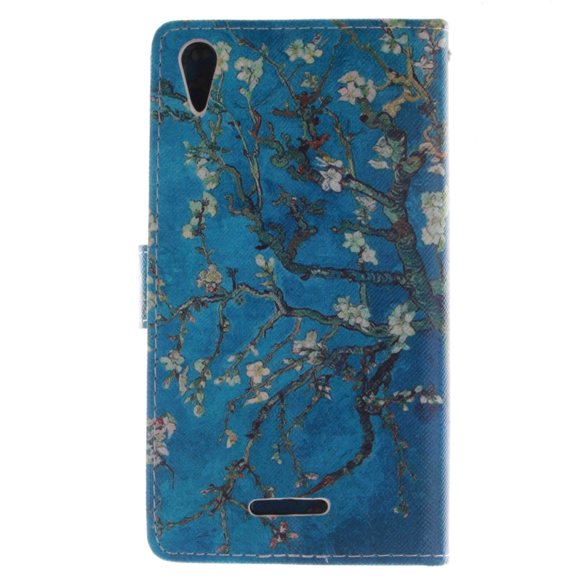 Trees Double Painting Filp Leather Cover for Sony Xperia T3 (Blue) (Intl)