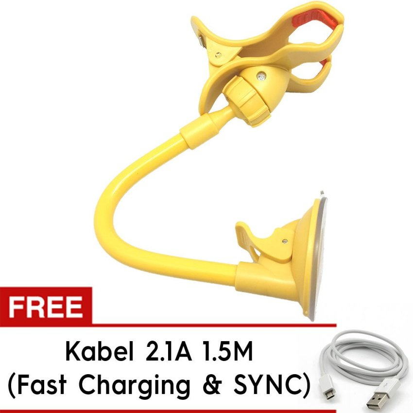 Trend's Stand Car Holder - Kuning + Free Kabel Android 1.5m 2.4A Fast Charging & Sync