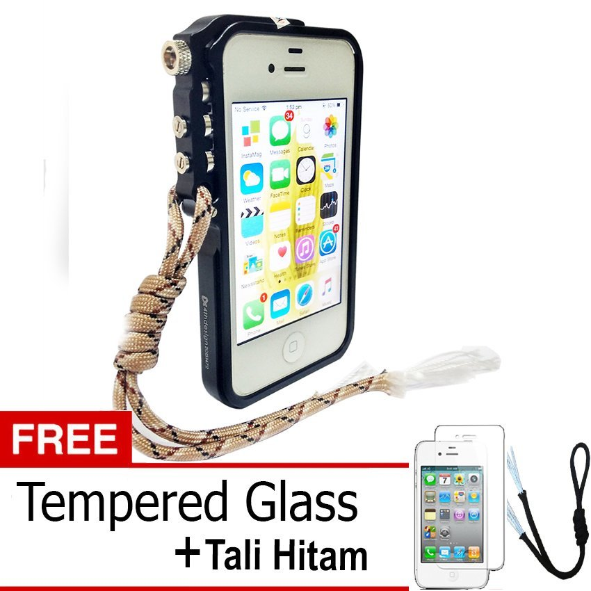 Trigger Bumper for Iphone 4 4S Premium Case - Hitam + Gratis Tempered Glass + Tali Hitam