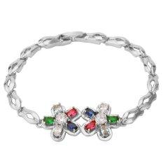 U7 Colorful Zircon Bracelet Platinum Plated Women Romantic Flower Zirconia Jewelry Chain Bracelet (Platinum) (Intl)