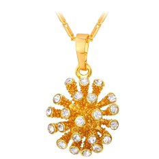 U7 Cute Rhinestone Ball Pendant Necklace For Women Fashion Jewelry 18K Real Gold Plated Accessories Gift (Gold)