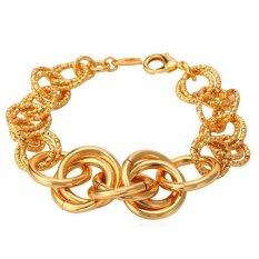 U7 Gold Bracelet Men Jewelry 18K Real Gold Plated 21 CM Wide Link Chain Punk Bracelet Wholesale (Gold) (Intl)