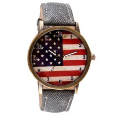 UJS American Flag Pattern Leather Band Analog Quartz Vogue Wrist Watches Gray (Intl)