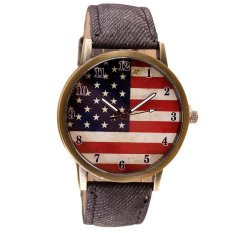 UJS American Flag Pattern Leather Band Analog Quartz Vogue Wrist Watches (Intl)