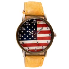UJS American Flag Pattern Leather Band Analog Quartz Vogue Wrist Watches Yellow (Intl)