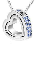 UJS Double Heart Crystal Rhinestone Eternal Love Silver Necklace Blue (Intl)