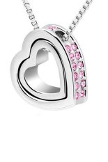 UJS Double Heart Crystal Rhinestone Eternal Love Silver Necklace Pink (Intl)