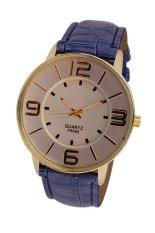 UJS Fashion Numerals Gold Dial Womens Blue Leather Strap Quartz Wrist Watch