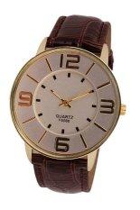 UJS Fashion Numerals Gold Dial Womens Brown Leather Strap Quartz Wrist Watch