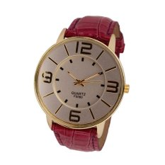 UJS Fashion Numerals Gold Dial Womens Red Leather Strap Analog Quartz Wrist Watch