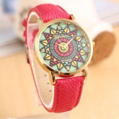 UJS Genvea Color Compass Gold Dial Leather Band Women Quartz Wrist Watch Hot Pink