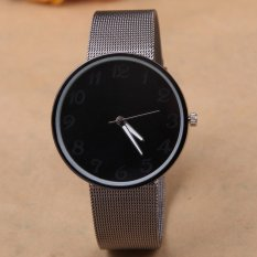 UJS Han Edition Men And Women Fashion Watches Geneva Watch Black Dial Alloy Mesh Belt Contracted Style Leisure Quartz Watches (BLACK)