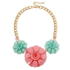 UJS Korean Version Of The Popular Jewelry Fashion Cute Candy Colored Acrylic With Larflowers Necklace Fashion Jewelry (Intl)