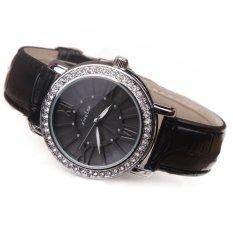 UJS Mens And Womens Fashion Leisure Belt Fashion Set Auger Color Dial Watch Quartz Watches (BLACK)