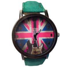 UJS The Union Jack UK Flag Round Dial Wrist Watch Green